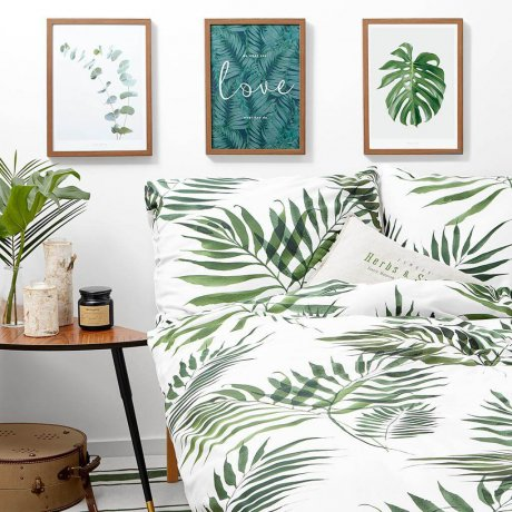 palm trees bedding white pocket