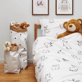 bunny bedding set white pocket
