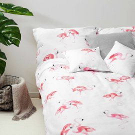 flamingo bedding set white pocket