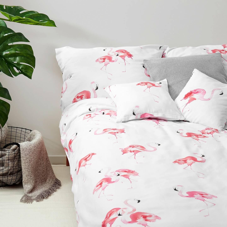 Flamingo Bedding Set Unique Home Textiles White Pocket