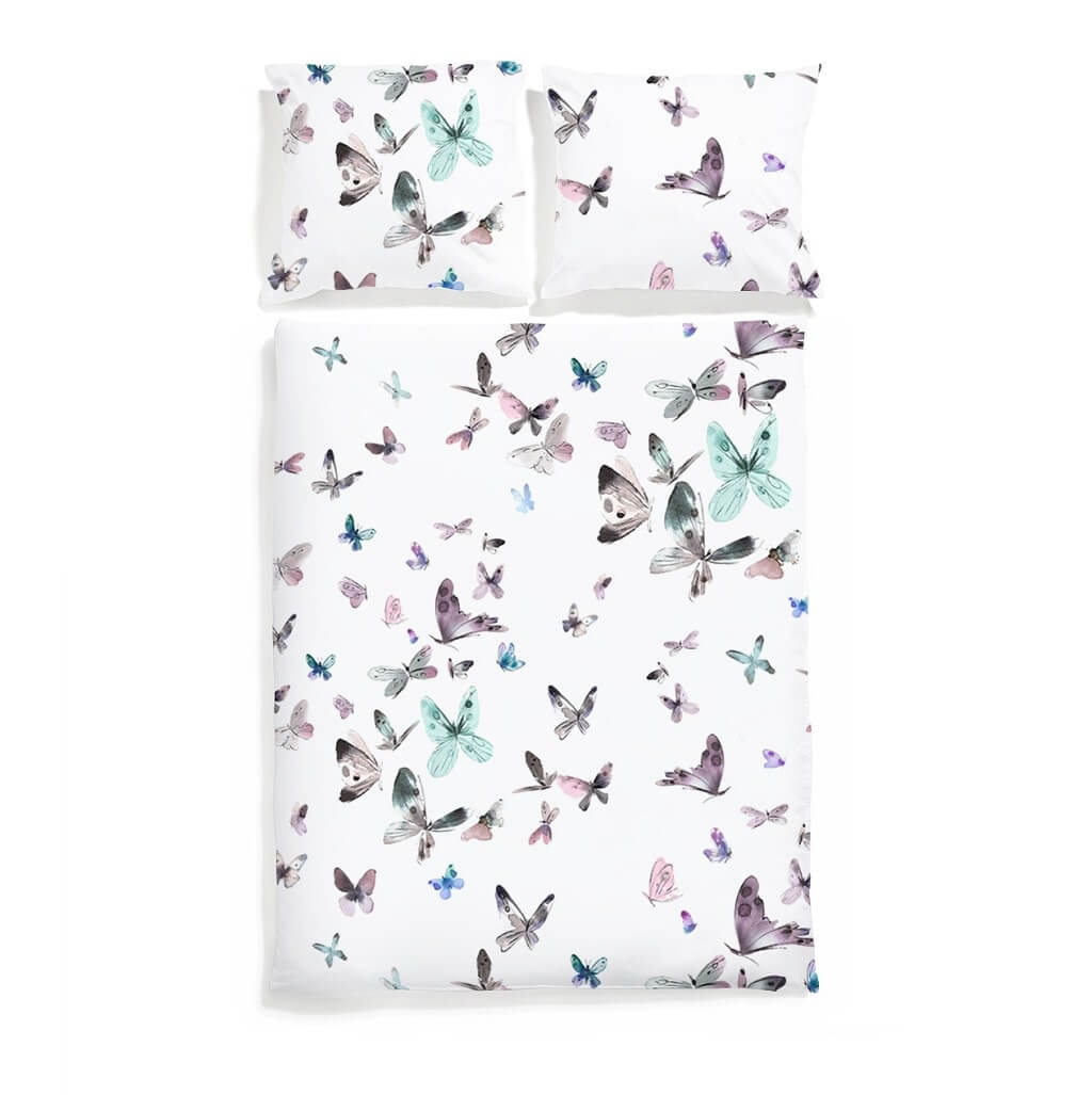 Butterflies Bedding Set Unique Home Textiles White Pocket