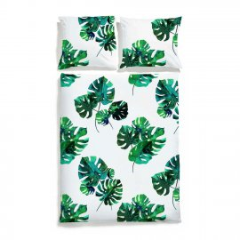 monstera bedding white pocket