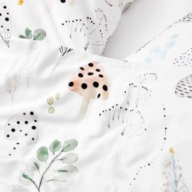 magic forest bedding white pocket