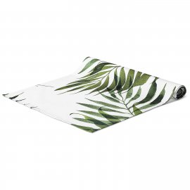 palm trees table runner white pocket