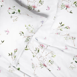 posciel ogrod kwiatki motyle white pocket