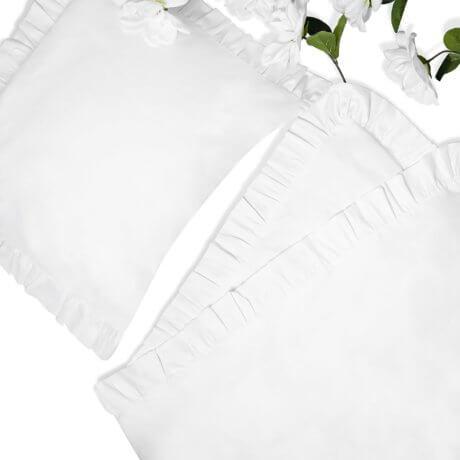 Pościel biała z falbanami z satyny bawełnianej White pocket