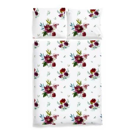 pościel w bordowe kwiaty bukiety white pocket