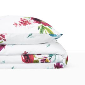 pościel bukiety malowane kwiaty bordo white pocket