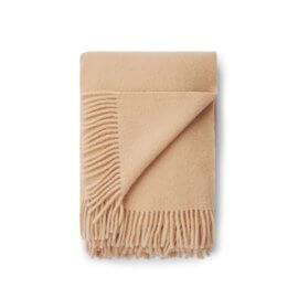 koc wełniany paiskowy white pocket camel
