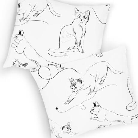 poszewki w koty kocie harce white pocket