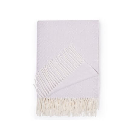 koc wełniany liliowy white pocket koc z wełny