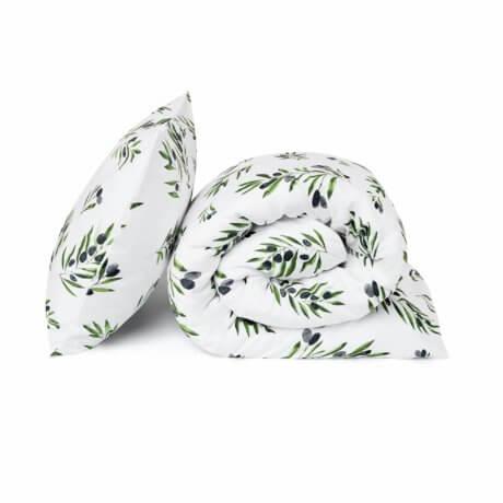 pościel w oliwki pościel liście white pocket