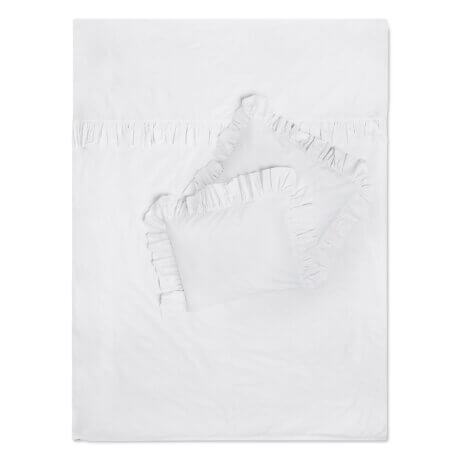 biała pościel z falbanami white pocket
