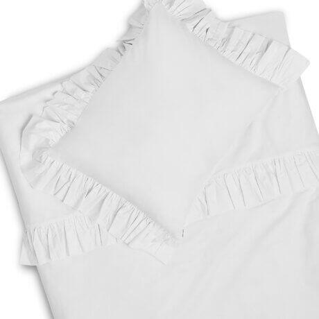 biała pościel z falbanką white pocket