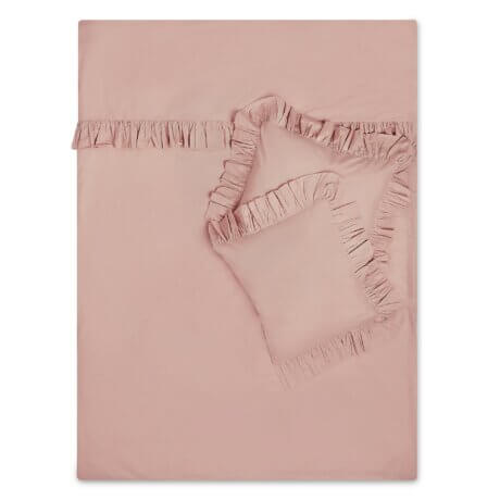 pościel z falbanami brudny róż white pocket