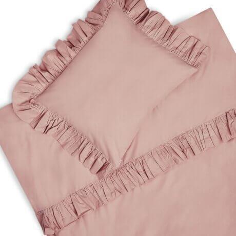 pościel z falbankami brudny róż white pocket