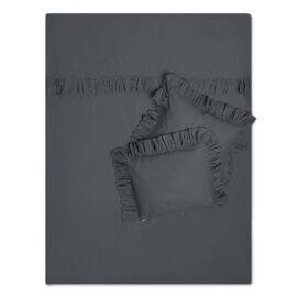 pościel z falbankami grafitowa white pocket