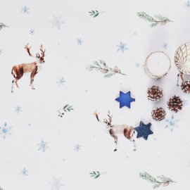 obrus świąteczny w renifery white pocket