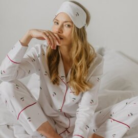 piżama czereśnie white pocket