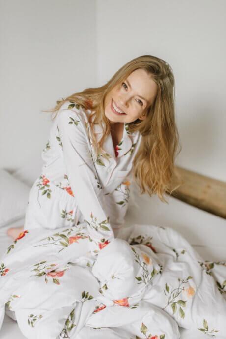 piżama z bawełny w róże
