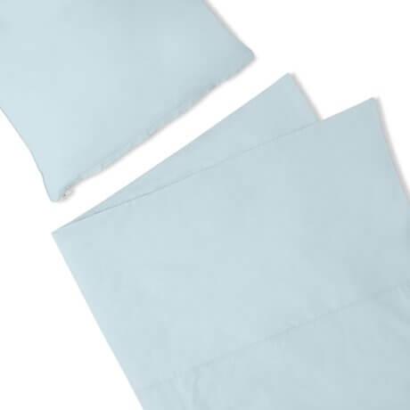 pościel błękitna bawełniana white pocket