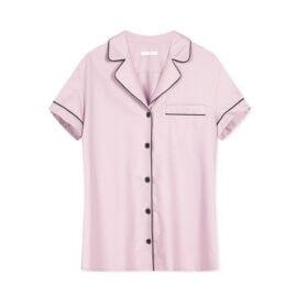 koszula od piżamy bawełniana brudny róz white pocket