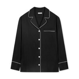 koszula od piżamy czarna white pocket