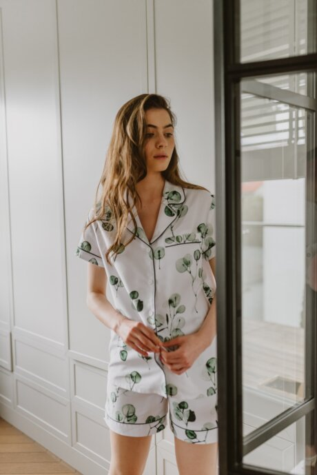 piżama eukaliptus white pocket