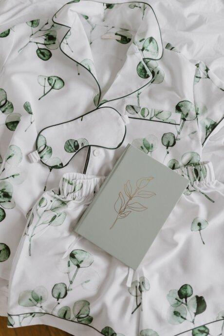 piżama w liście eukaliptusa white pocket