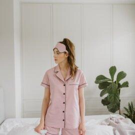piżama brudny róz krótka bawełniana