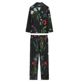 piżama z satyny bawełnianej ciemna nocna łaka