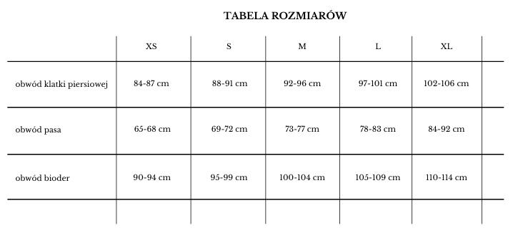 tabela rozmiarowa piżamy