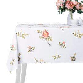 obrus w dzikie róże white pocket